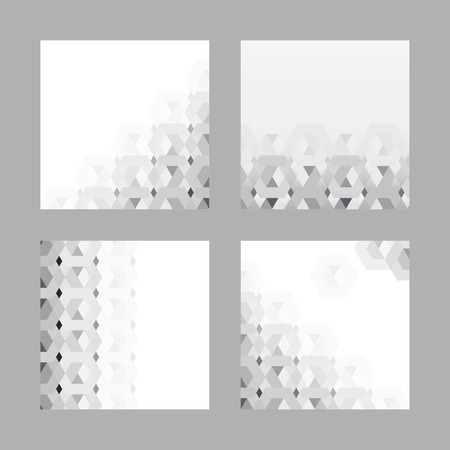 3D white and gray hexagonal patterned banner vector