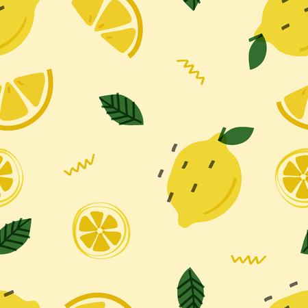 Summer lemon fruit pattern vector