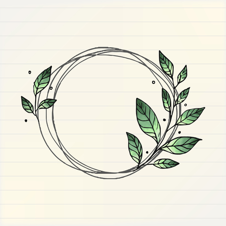 Doodle round floral wreath frame vector