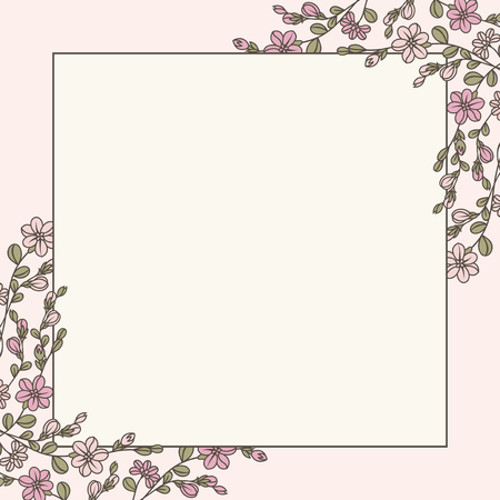 Empty floral frame design vector