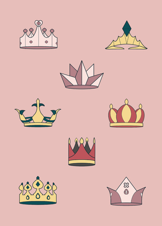 Colorful luxurious crowns vector collection Imagens - 123763773