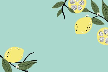 Lemon border on a green background vector Reklamní fotografie - 123763778