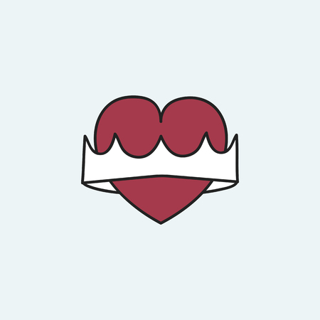 Red heart with a crown vector Archivio Fotografico - 123718754