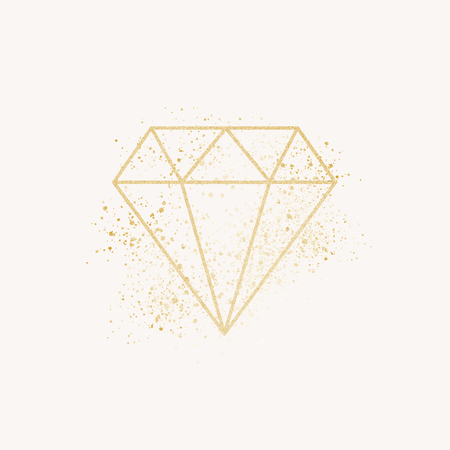 Shimmering golden geometric diamond vector