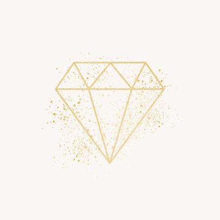 Shimmering golden geometric diamond vector