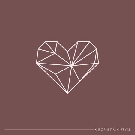 White geometric style heart vector
