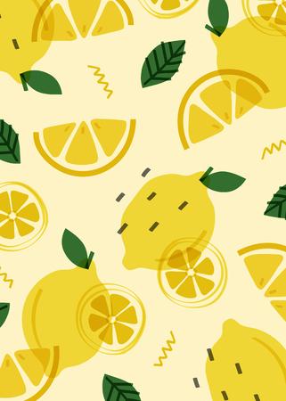 Summer lemon fruit pattern, vector illustration