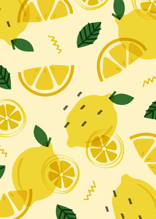 Summer lemon fruit pattern, vector illustration
