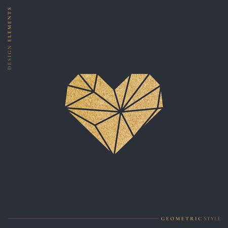 Golden shimmering geometric heart, vector illustration
