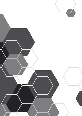 Black and white hexagon geometric pattern poster, vector illustration