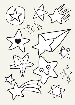 Colección de vectores de estrellas blancas dibujadas a mano