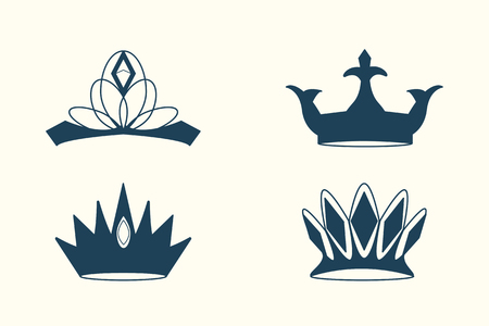 Blue luxurious royal crowns vector collection