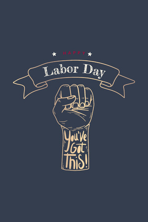 Happy Labor Day power fist vector
