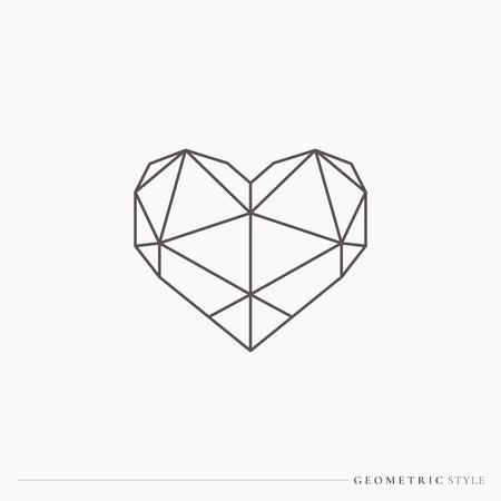 Coeur de style géométrique noir, illustration vectorielle