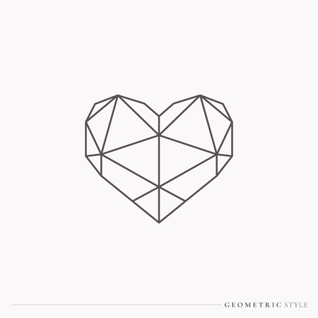 Black geometric style heart, vector illustration