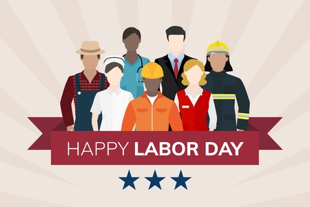 Diverse occupation celebrating labor day vector Фото со стока - 123764181