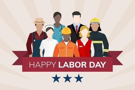 Occupation diversifiée célébrant le vecteur de la fête du travail Vecteurs
