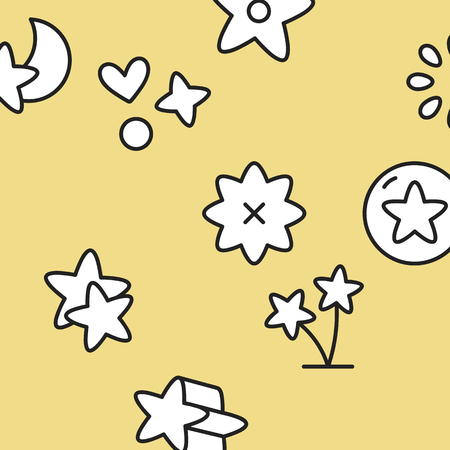 Star collection on a yellow background vector