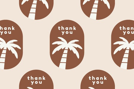 Thank you sticker label with palm tree vector