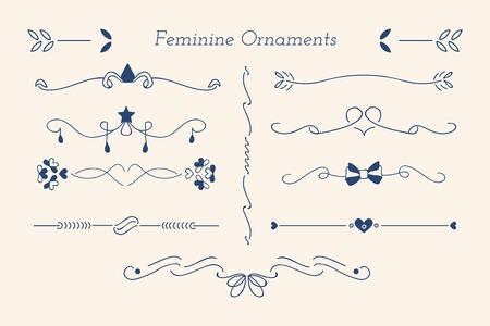 Blue feminine ornamental dividers vector collection