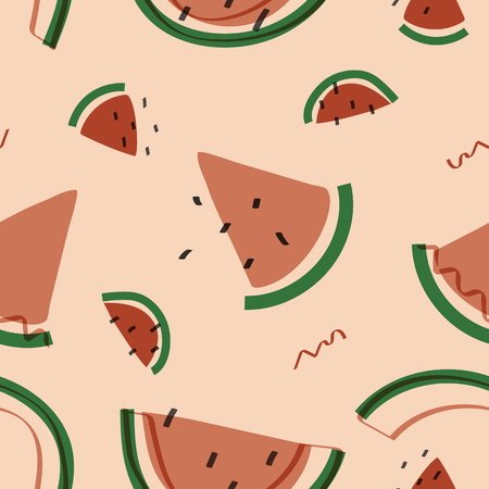 Tropical watermelon fruit pattern vector