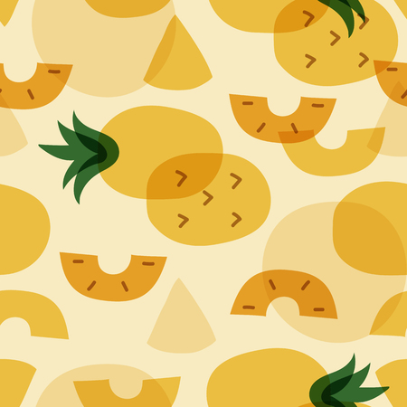 Tropical pineapple fruit pattern vector Banco de Imagens - 123764359