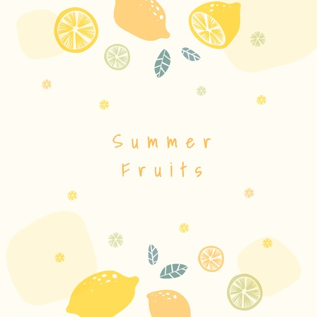 Lemon patterned background with design space vector