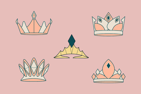 Colorful luxurious crowns vector collection