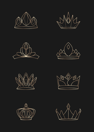 Luxurious geometric crown design collection vectors
