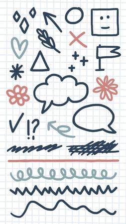 Messy doodles and scribbles design element vectors 向量圖像