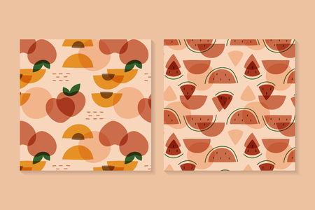 Tropical fruit pattern collection vectors