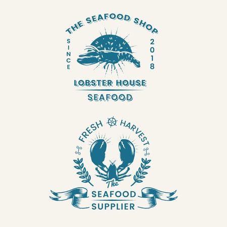 Seafood restaurant vintage vector set Illustration