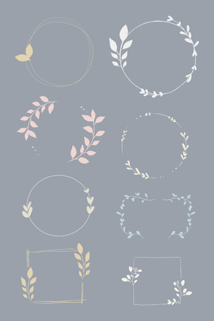 Doodle floral wreath vector collection  イラスト・ベクター素材