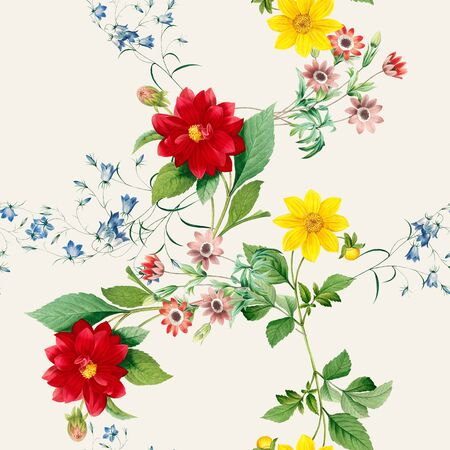 Red and yellow dahlias wallpaper illustration
