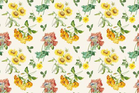 Hand drawn floral wallpaper illustration Stock fotó