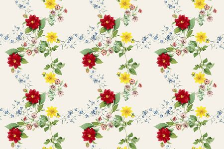 Red and yellow dahlias wallpaper illustration Archivio Fotografico - 124634926