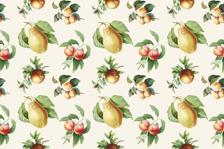 Hand drawn fruits wallpaper illustration Imagens
