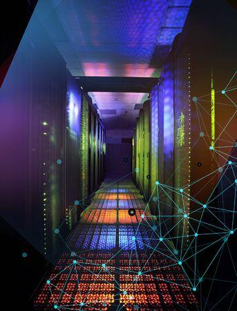 Supercomputer data center storage room