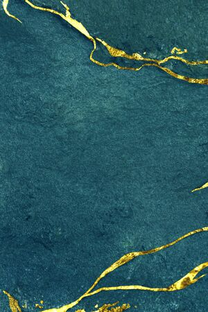 Blue and gold marble textured background Banco de Imagens