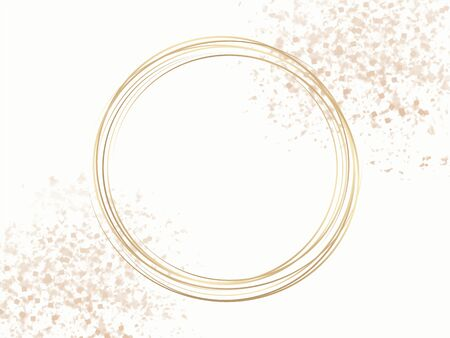Gold circle frame on a pastel pink confetti background