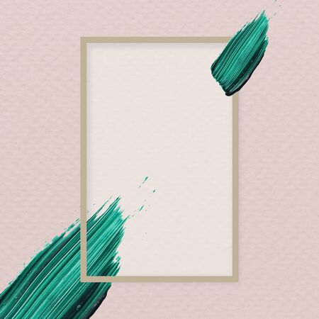 Green brush stroke on a frame vector Фото со стока