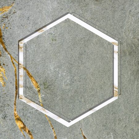 Hexagon frame on green marble background Stock fotó