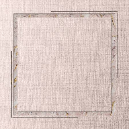 Square frame on pink fabric textured background