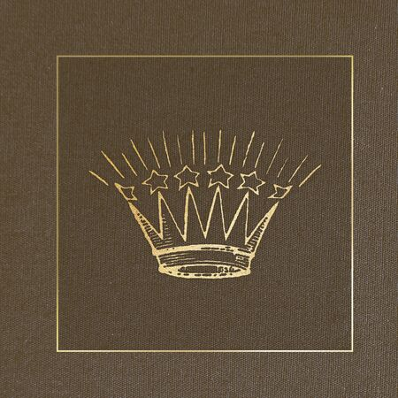 Golden baroque style crown on a brown background Archivio Fotografico - 124724861