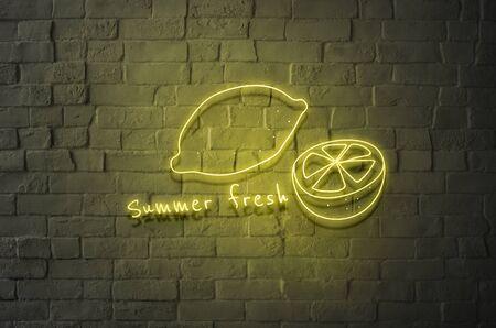 Summer fresh yellow neon sign with lemons