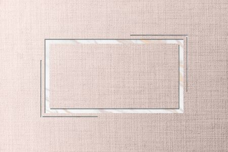 Rectangle frame on pink fabric textured background