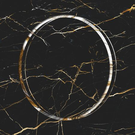 Oval frame on black marble textured background
