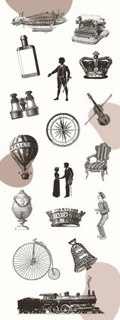 Vintage hand drawn silhouette collection Stockfoto