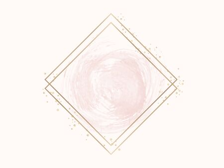 Gold rhombus frame on a pastel pink background 写真素材