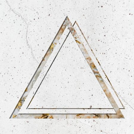 Triangle frame on white marble textured background Stock fotó